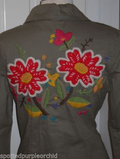 bc806ef1fab Details about New  179 JW Johnny Style Boho Hand Embroidered Military Green  Stretch Shirt~L
