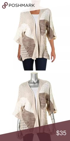 Open Tunic Style Knit Cardigan Beautiful Color Block Cardigan Kimono  Bust Across: 19 1/2 Inches Neckline: Open, No Collar Material: 100% Cotton Fabric Type: Crochet Style & Co Tops Tunics