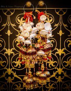 Wedding Kaleere - Silver and Gold Wedding Kaleere with Red Stone Hangings | WedMeGood  #wedmegood #indianbride #kaleere #silver #gold #jewelry #indianjewelry