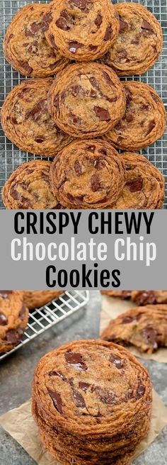 Crispy Chewy Chocolate Chip Cookies loaded with chocolate chunks. These bakery-s… Crispy Chewy Chocolate Chip Cookies loaded with chocolate chunks. These bakery-style cookies have crinkled edges and are thin, crispy and chewy. Triple Chocolate Chip Cookies, Best Chocolate Chip Cookie Recipe Chewy, Chocolate Chip Shortbread Cookies, Desserts Keto, Plated Desserts, Crispy Cookies, Cookies Soft, Cheese Cookies, Vegetarian Chocolate