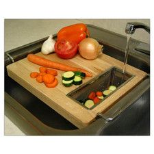 Cutting Board - Turn your sink into a food prep station with this ingenious kitchen helper! Solid wood cutting board straddles your sink so you can rinse, chop and collect veggies on one convenient surface.