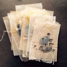 ruby silvious art — Gouache and markers on recycled tea bags. Because of tax , many colonists refused to buy British tea. was born in Tacloban City, Philippines; currently lives in the Hudson Valley, NY) --- crumpled up tissue paper Using Teabag Paper Tea Bag Art, Tea Art, Art Bag, Tee Kunst, Used Tea Bags, Handmade Books, Art Journal Inspiration, Bookbinding, Textile Art