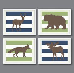 Striped Woodland Animal Art Print Set of von GatheredNestDesigns
