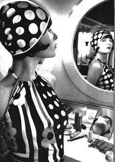 Mary Quant fashions, 1960s. Cloche hat, short bob, flowers & op art patterns. The first modern flappers?