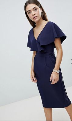 Buy ASOS DESIGN Ruffle Wrap Midi Dress at ASOS. With free delivery and return options (Ts&Cs apply), online shopping has never been so easy. Get the latest trends with ASOS now. Asos, Meghan Markle, Midi Dresses Online, Dress Online, Tuxedo Dress, Long Summer Dresses, Chic Dress, Latest Dress, Maternity Dresses
