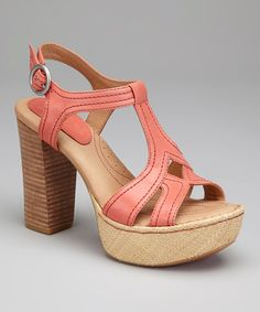Take a look at this Coral Leather Shanna T-Strap Platform Sandal by Born Crown on #zulily today!