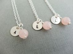 Bridesmaid set of personalised necklaces. Rose Quartz pale pink semi precious stone and hand stamped initial on Sterling Silver