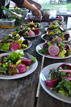 If you just can't get enough beets, then this triple threat salad from Amy Glaze's Pommes D'amour is for you! Make her Beet Salad: Raw, Roasted, and Pickled with Lavender Vinaigrette.