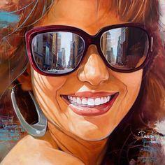 Artist: Junior Hurtado, oil on canvas, 2015 {figurative art beautiful female head sunglasses smiling cuban woman face painting #loveart} yuniorhurtado.net