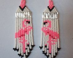 Native American Style Seed Beaded Flamingo Earring Pink and White Southwestern, Boho, Brick Stitch, Gypsy, Peyote Great Gift Ready to Ship Beaded Earrings Patterns, Seed Bead Patterns, Beading Patterns, Bracelet Patterns, Seed Bead Jewelry, Seed Bead Earrings, Pink Earrings, Hoop Earrings, Seed Beads