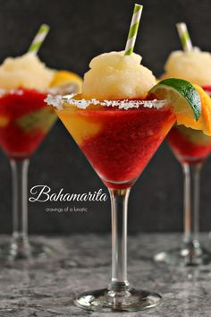 Frozen Bahamarita- This Frozen Margarita recipe is sure to be a hit at your next party.  It's made with Tequila, kiwi, strawberry and mango ices and served with a shot of Cactus Juice Schnapps. There is also a recipe for a virgin version!