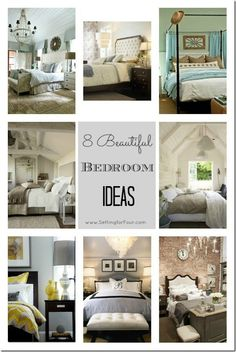 8 Beautiful Bedroom Ideas from Setting for Four. #decor #bedroom  Love Soft decor of these rooms - retreats to take one always from cares of the world! - R