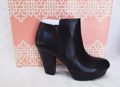 Gianni Bini Take Too Platform Leather Ankle Boots 10 M Black Party Fun Jeans NEW #GIANNIBiNI #PlatformAnkleBoots #CasualClubwear