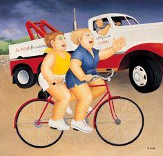 Britain's Biggest Stockist of Beryl Cook Fine Art Beryl Cook, British Schools, Bicycle Art, English Artists, Chubby Girl, Painting Gallery, Hens Night, Fat Women, Funny Art