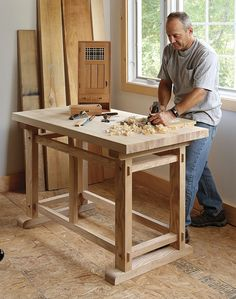 Woodworking Workbenches A Small, Sturdy Workbench: This workbench design by Eric Tan, who specializes in Ming dynasty furniture, incorporates interlocking joinery to create strong, rigid construction without the need for glue or hardware. There are 28 … Woodworking Furniture Plans, Woodworking Projects That Sell, Woodworking Workbench, Fine Woodworking, Woodworking Crafts, Workbench Plans, Folding Workbench, Woodworking Beginner, Garage Workbench