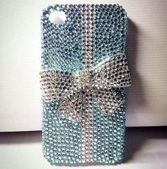 Glitter case light blue rhinestone sliver par crystalblingcase, $26.99