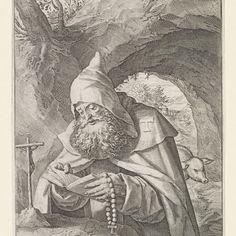 Heilige Antonius, Raphaël Sadeler (I), naar Maerten de Vos, 1570 - 1632 - Rijksmuseum