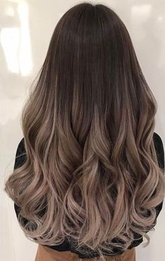 Balayage and ombre hair. Hair color ideas and trends for 20 Brown Hair Balayage, Balayage Brunette, Hair Color Balayage, Hair Highlights, Brown To Blonde Ombre Hair, Straight Ombre Hair, Peekaboo Highlights, Purple Highlights, Brunette Hair
