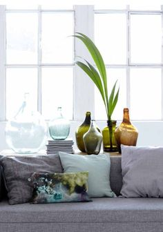 House doctor, blue green pillows, vases