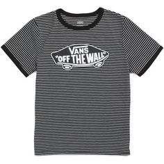 Vans Striped OTW Ringer Tee (700 UYU) ❤ liked on Polyvore featuring tops, t-shirts, shirts, black, tall t shirts, striped tee, rayon shirts, t shirt and vans shirt