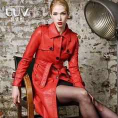 Adjusted belt single breasted new 2016 autumn winter medium-long leather trench coat women slim long-sleeve faux leather jacket