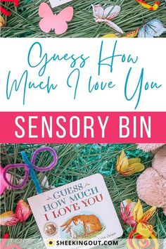 """Looking for ways to make reading books more interesting? Let's get creative and mix it up with reading time by creating a sensory bin with a theme from a children's story. Here is a fun Sensory Bin that was inspired by the heartwarming book, """"Guess How Much I Love You."""" This is a simple activity to set up and do at home with your baby or toddler that you both will enjoy. This activity offers a unique way to make reading time fun as well as provide an opportunity to learn various skills. Early Learning Activities, Fun Activities For Toddlers, Rainy Day Activities, Play Based Learning, Spring Activities, Sensory Activities, Infant Activities, Reading Time, Reading Books"""