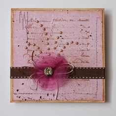 Card made under this condition: Violet and brown colour, pearls, ribbon, string, button I added sewing and splatters. I Card, Card Making, Ribbon, Gift Wrapping, Colour, Pearls, Button, Sewing, Brown