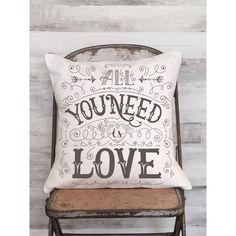 Pillow Cover All Your Need Is Love Calligraphy Cover ($38) ❤ liked on Polyvore featuring home, home decor, throw pillows, decorative pillows, home & living, home décor, silver and quote throw pillows
