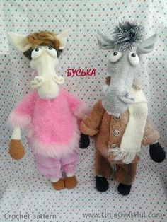 """Project by Buska.""""Mr and Mrs horse"""" crochet pattern designed by Astashova for LittleOwlsHut was used to make this toy. Pattern is for an experienced crocheters. Coat is KNITTed not crochet. Toy has a wire frame inside but can't stand on its own. Look at our other horse projects pins for Ideas how to decorate you lovely toy. #LittleOwlsHut, #Amigurumi, #Astashova, #CrochetPattern, #Horse, #DIY, #Pattern, #Toy"""