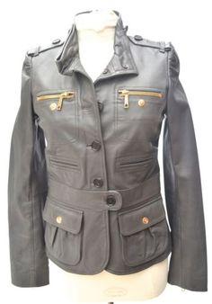 BUI DEI BY BARBARA BUI LEATHER MILITARY GREY JACKET COAT WOMENS 38 US size 6