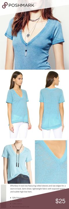 """We the Free 'Pearls' Tee in Aqua Blue Comfy  and casual aqua blue tee. In excellent gently used condition . Measures 35"""" at bust, and 22"""" in length. Free People Tops"""