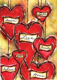 Heart values - love this, add words of what you value most in each heart or ...