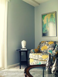 living room teal yellow and gray