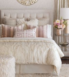 Luxury Bedding by Eastern Accents - Halo Collection - vintage rose ceiling - benjamin moore rosetone or tissue pink