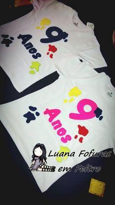 Camiseta Personalizado Aniversário Pintando o Sete. Luana Fofuras em feltro