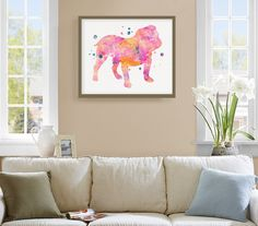 """High quality print of my original watercolor artwork Pink English Bulldog.  A perfect gift for the pet lover and a great honor for your best friend!  ★ HOW TO ORDER ★ The artwork is available in different sizes and supports. You can browse all the options by the drop down menu.  ★ PRODUCTS DETAILS ★ - """"ONLY PRINT"""" : selecting this option you will receive a print, professionally printed on heavy weight (230 g. 9-5 mil), acid-free, high quality archival paper, with a beautiful embossed canvas…"""
