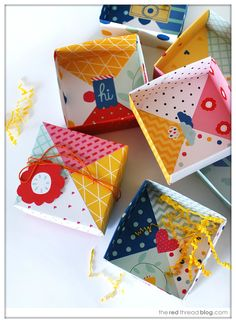 Patchwork origami boxes