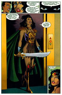 Wow, I just found this and I had to look her up to see who she is in my Wonder Woman encyclopedia.  Her name is Nu'bia or Nubia and she is the twin sister of Wonder Woman from the Earth II series.