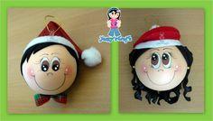 Yanny´s Crafts: Esferas Navideñas (Creación Original) Elf Christmas Decorations, Christmas Ornaments To Make, Christmas 2017, Christmas Elf, Christmas Balls, Christmas Crafts, Xmas, Holiday Decor, Light Bulb Crafts
