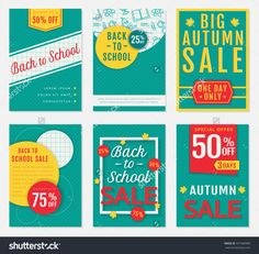 Back To School And Autumn Discount Banners. Templates Of Advertising Flyers For The Seasonal Sales. Vector Set. - 457580989 : Shutterstock