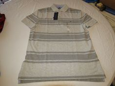 Mens Tommy Hilfiger Polo shirt Striped 7880966 Grey Violet 035 L Classic Fit NWT #TommyHilfiger #polo
