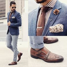 Brown gingham button shirt, light blue slacks, Blue blazer and brown buckle wingtip shoes