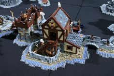 Medieval Houses, Medieval Town, Medieval Fantasy, The Hobbit Game, Lego Knights, Lego Army, Amazing Lego Creations, Lego Boards, Lego Castle