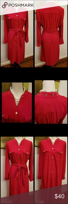 Retro Red Dress Great for Holidays..belted dress...never worn..pull over styling...gold tone buttons..pics show belted and unbelted...Sleeves can be worn long or short. Jones New York Dresses Long Sleeve