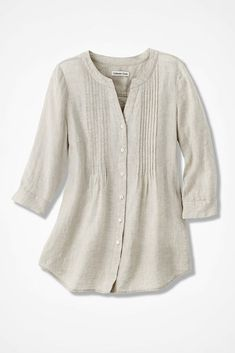 Tucked Linen Tunic, Flax