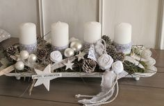 Adventskranz im shabby-Style ★Ganz in weiß ★ Die längliche weiße Meta… Advent wreath in shabby style ★ All in white ★ The elongated white metal bowl with a curved edge and small feet was decorated with white candles, which have an asterisk ribbon and … Christmas Advent Wreath, Noel Christmas, Winter Christmas, Christmas Crafts, Christmas Decorations, Xmas, Holiday Decor, Advent Candles, Pillar Candles