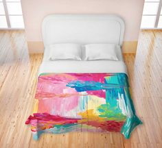 COLORFUL Fine Art Duvet Covers King Queen Twin Bold Bright Cheerful pink Clouds Rainbow Sky by EbiEmporium, $140.00