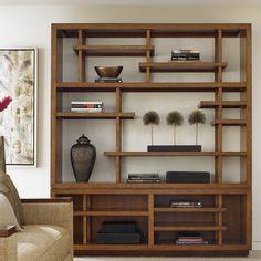 Tommy Bahama Home Island Fusion Taipei Media Library Bookcase Wood Shelves, Display Shelves, Shelving, Open Shelves, Floating Shelves, Asian Home Decor, Cheap Home Decor, Cube Bookcase, Bookcases