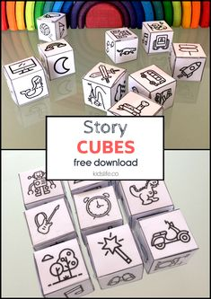 Story cubes – one game for a thousand stories ! - Kids - Family - Home - Here is a new original and fun dices game you are going to enjoy ! A great game for your kids to - Language Games For Kids, English Activities For Kids, Educational Games For Kids, Stories For Kids, Fun Activities, Therapy Activities, Story Dice, Roll A Story, Story Cubes