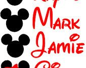 Lot Of 4 Mickey Or Minnie Decals With Names